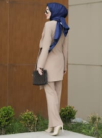 Unlined - Mink - Crew neck - Viscose - Evening Suit