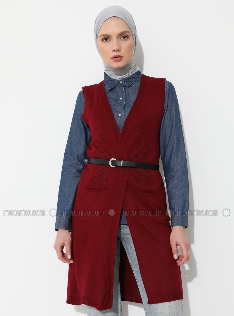 Maroon - Unlined - Shawl Collar - Acrylic -  - Vest