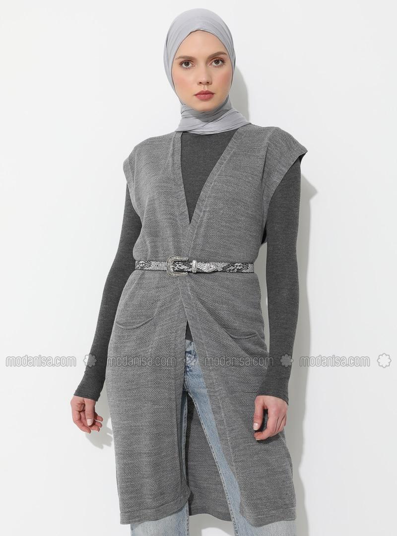Gray - Unlined - Shawl Collar - Acrylic -  - Vest