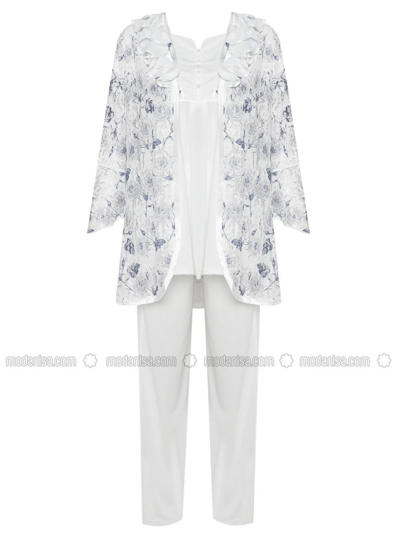 Blue - Multi - Modal - - Combed Cotton - Maternity Pyjamas