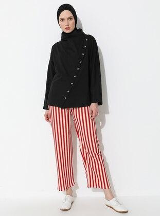 Beige - Coral - Stripe - Pants