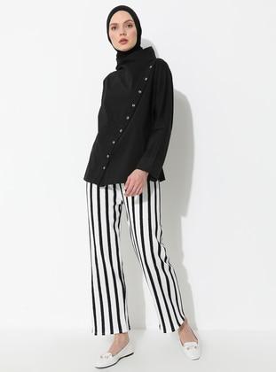 White - Navy Blue - Stripe - Pants
