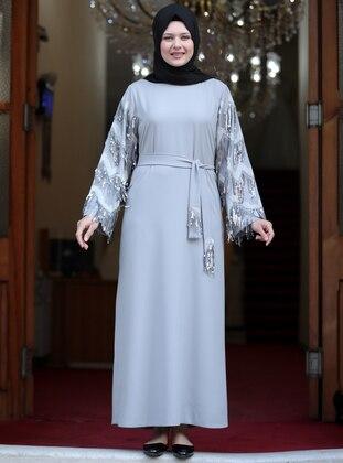 Gray - Crew neck - Unlined - Plus Size Abaya