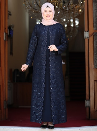Navy Blue - Unlined - Crew neck - Muslim Plus Size Evening Dress - Amine Hüma