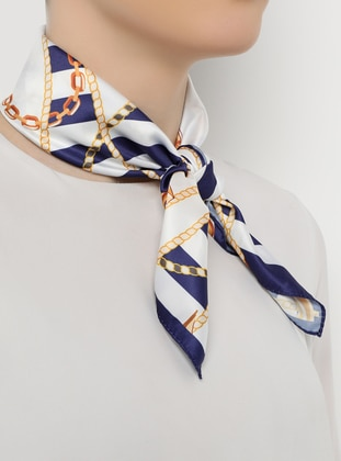 Mustard - Navy Blue - Neckerchief - Daisy Accessory