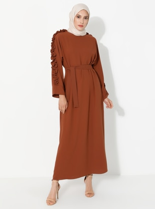 Tan - Crew neck - Unlined - Dress