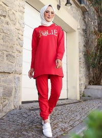 Red -  - Tracksuit Set -  Sports