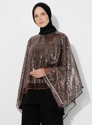 Brown - Black - Leopard - Crew neck - Unlined - Poncho