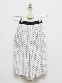 Polka Dot - Fully Lined - White - Ecru - Girls` Pants