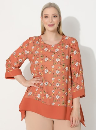 Tan - Floral - Crew neck - Plus Size Blouse