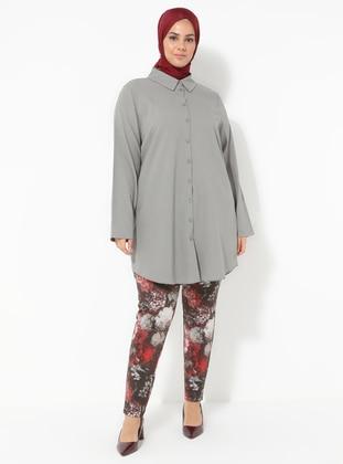 Red - Floral - Plus Size Pants
