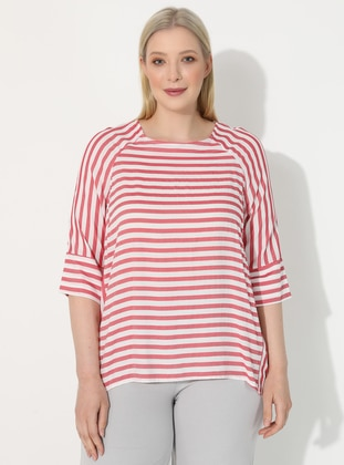 Red - Stripe - V neck Collar - Plus Size Blouse