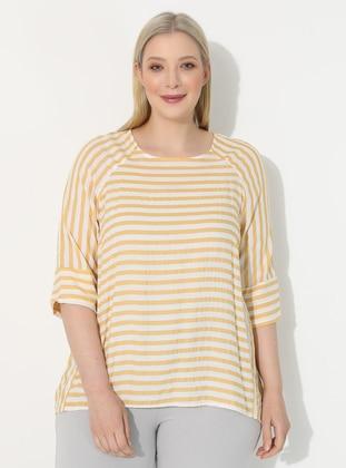 Yellow - Stripe - V neck Collar - Plus Size Blouse
