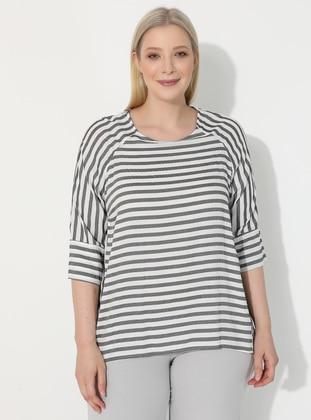 Black - Stripe - V neck Collar - Plus Size Blouse