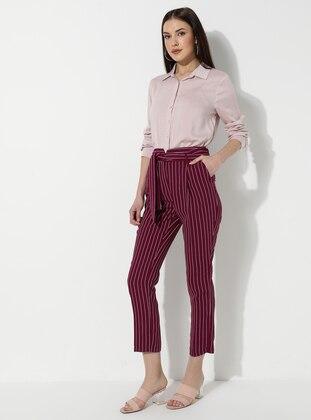Plum - Stripe - Viscose - Pants
