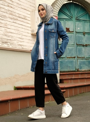 Blue - Point Collar - Denim -  - Jacket - Neways