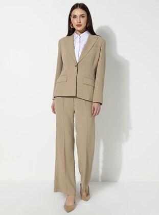 Cream - Stripe - Suit