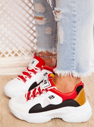 White - Red - Yellow - Sport - Sports Shoes