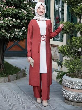 Unlined - Terra Cotta - Crew neck - Evening Suit