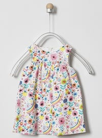 Floral - Crew neck - - Unlined - Pink - Baby Dress