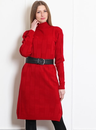 Red - Polo neck - Acrylic -  - Tunic