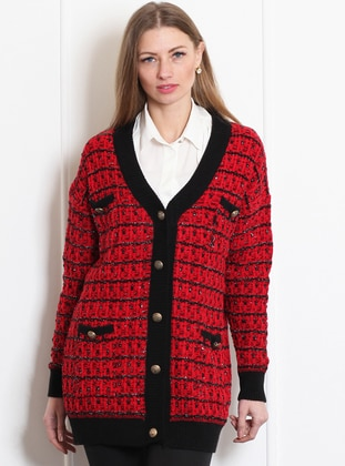 Red - Black - Unlined - Shawl Collar - Acrylic - Vest