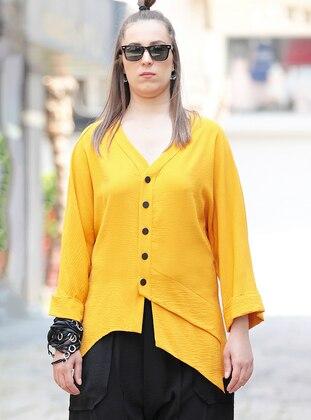Yellow - V neck Collar - Acrylic - Blouses