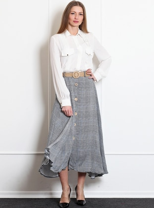 White - Black - Plaid - Unlined - Acrylic - Skirt