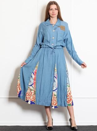 Blue - Unlined - Acrylic - Skirt