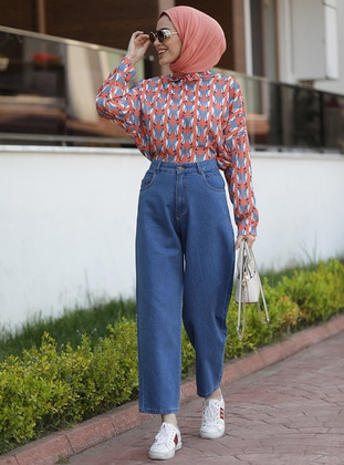 Blue - Denim - Cotton -  - Pants