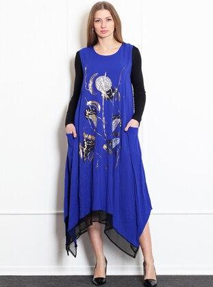 Saxe - Black - Crew neck - Unlined - Acrylic - Dress