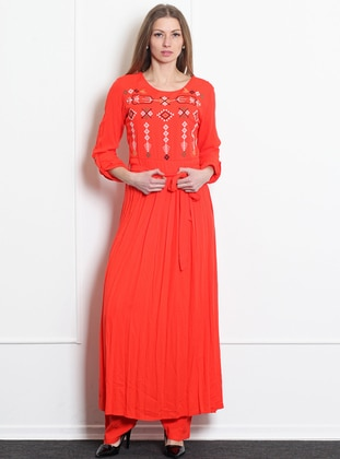 Coral - Crew neck - Unlined - Acrylic - Dress