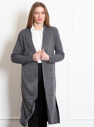 Anthracite -  - Wool Blend - Cardigan