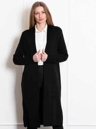 Black -  - Wool Blend - Cardigan