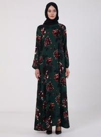 Yeşil - Çiçekli - Yuvarlak yakalı - Astarsız - Elbise