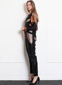 Beige - Unlined - Point Collar - Acrylic - Jumpsuit