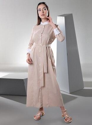 Beige - Stripe - Point Collar - Unlined -  - Dress