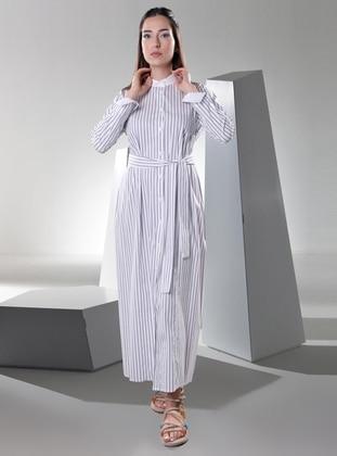 White - Stripe - Point Collar - Unlined -  - Dress