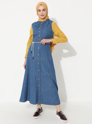 Blue - Point Collar - Unlined - Denim - Dress