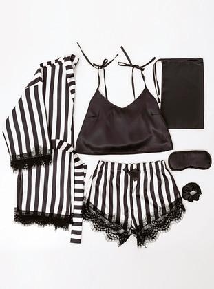 Black - Satin - Short Set