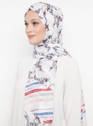 White - Printed - Shawl