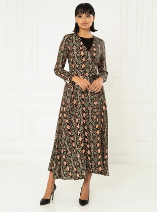 Stone - Ethnic - Crew neck - Unlined - Viscose - Dress