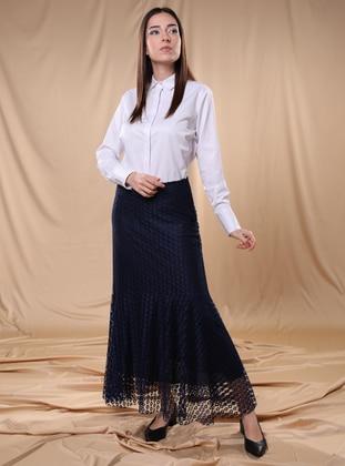 Navy Blue - Fully Lined -  - Skirt