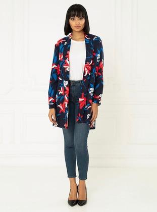 Navy Blue - Fully Lined - Shawl Collar - Jacket