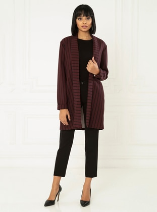 Maroon - Stripe - Fully Lined - Shawl Collar - Jacket