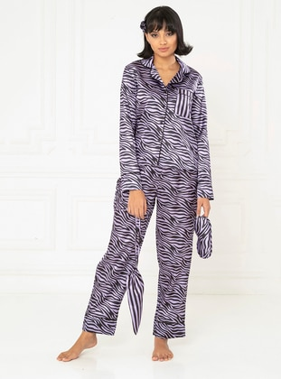 Lilac - V neck Collar - Multi - Satin - Pyjama Set