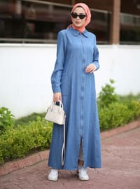 Blue - Round Collar - Denim -  - Abaya