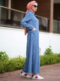 Blue - Round Collar - Denim - - Abaya