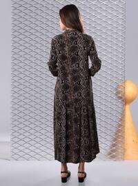 Kahverengi - Çok renkli - Çin yakası - Astarsız kumaş - - Elbise