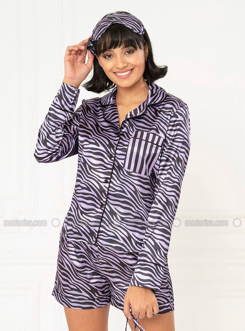 lila - v-ausschnitt - bunt - satin - pyjama-set